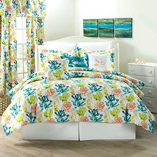3 Piece Cal King Tropical Gorgeous Corals Nature Pattern Multicolored Palette Yellow Orange Teal Comforter In 2020 Coastal Bedding Sets Teal Comforter Coastal Bedding