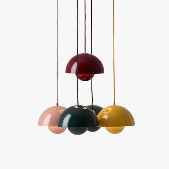Suspension Flowerpot Bleu noir by Verner Panton - And Tradition