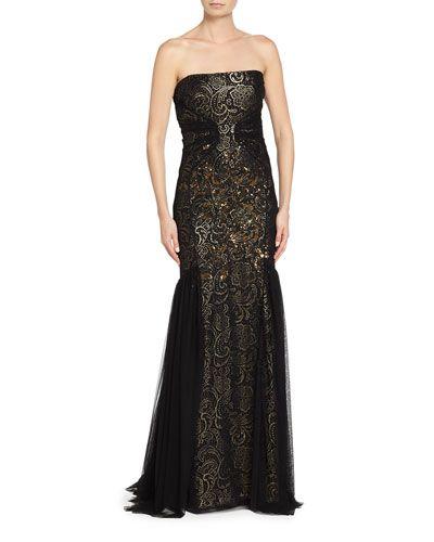 B3DT4 Badgley Mischka Strapless Lace Gown, Black/Gown