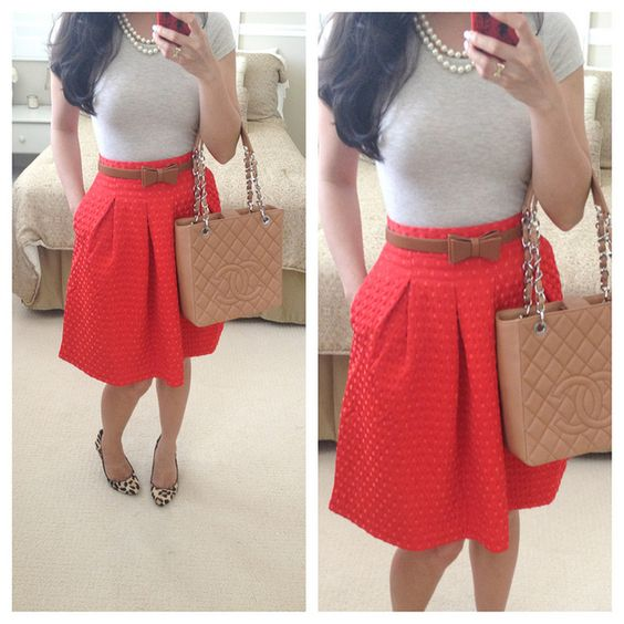 Summer Work Outfits: Tee: H {old} Skirt: H Belt: taken from ...