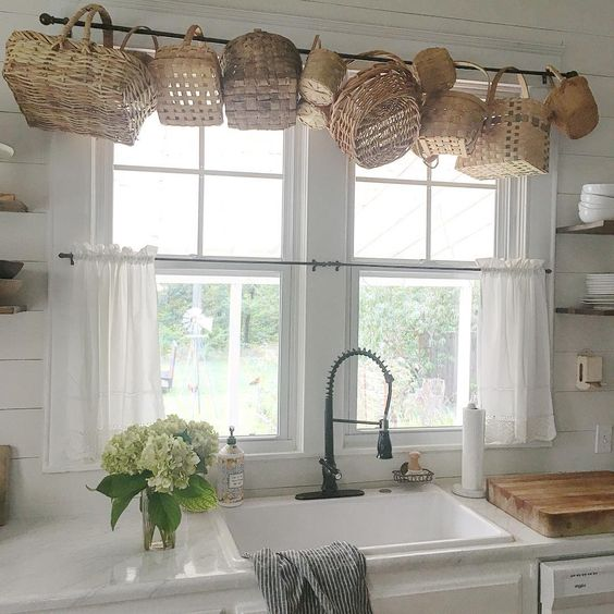 Unique way to display your baskets #farmhousekitchen