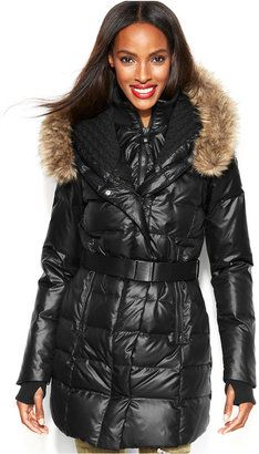 Rudsak RUD styled by Faux-Fur-Trim Belted Puffer Down Coat