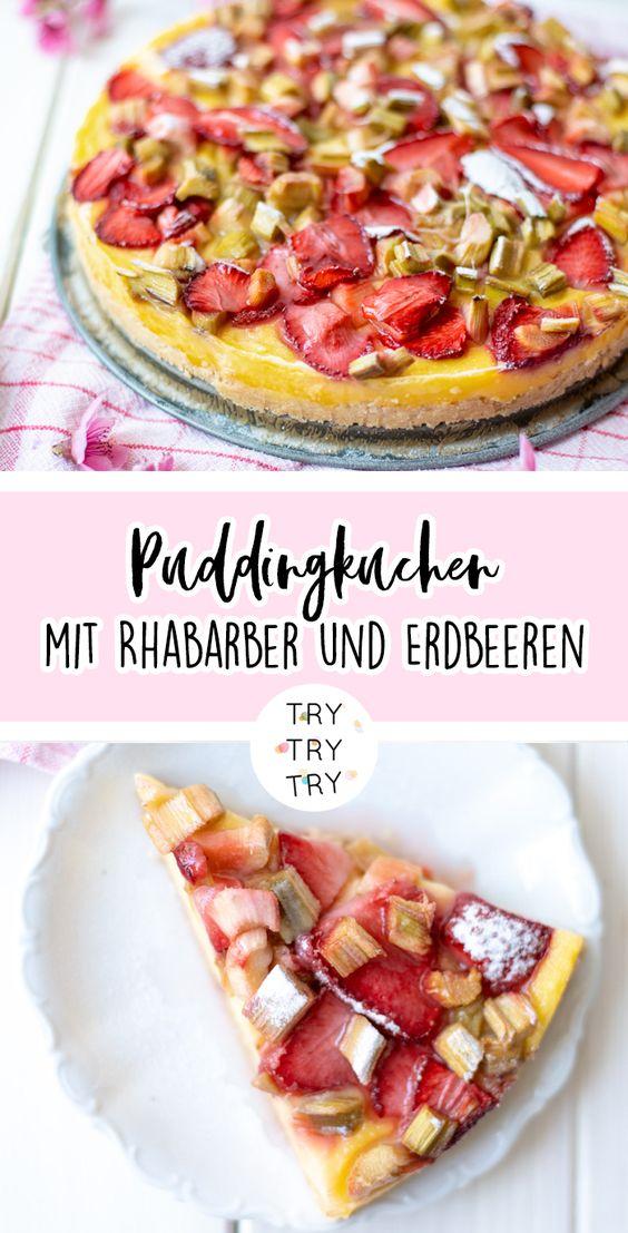 Puddingkuchen mit Rhabarber und Erdbeeren