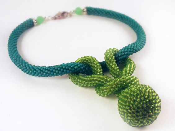 Bead crochet rope necklace with knotted ball