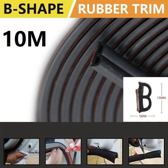 10m General Purpose Seals For Automobiles B Type Self Adhesive Epdm Rubber Strip Automobile Stripping Rubber