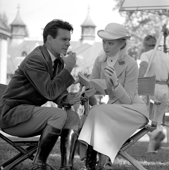 Louis Jourdan and Grace Kelly on the set of The Swan (1956):
