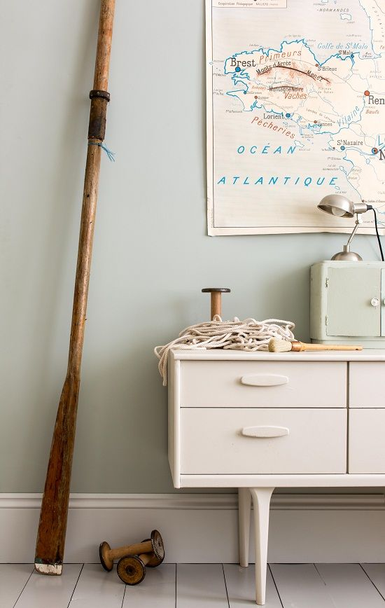 A tranquil paint color for your walls! Farrow & Ball Light Blue in a nautical themed room with vintage style. #lightblue