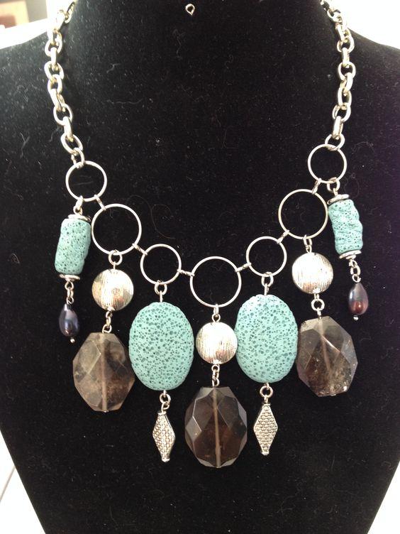 Smoky quartz & turquoise Lava chunky gemstone bib statement necklace - Michela Rae