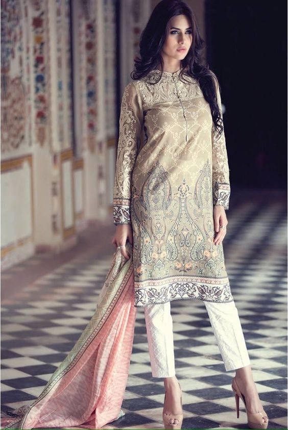 Stitching Styles Of Pakistani Dresses Grey Digital print Shirt