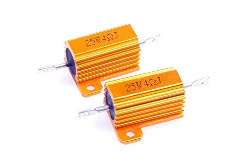 LM YN 25 Watt 5 Ohm 5/% Wirewound Resistor Electronic Aluminium Shell Resistor Gold for Inverter LED Lights Frequency Divider Servo Industry Industrial Control 2-Pcs