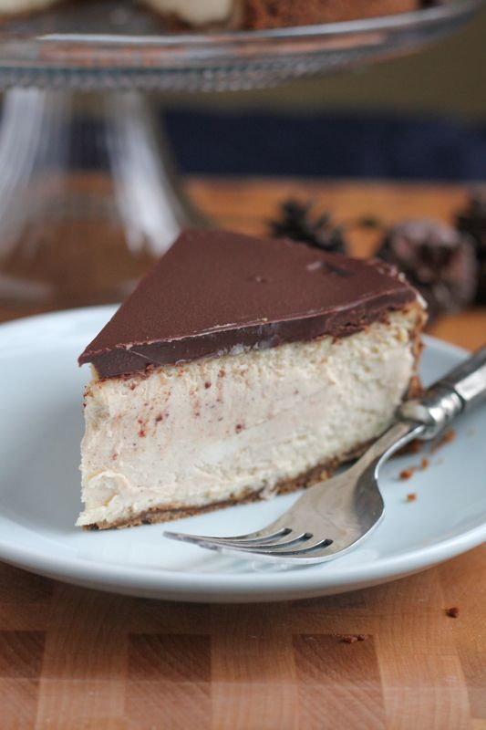 Cinnamon Eggnog Cheesecake with a gingersnap cookie crust! With hints ...