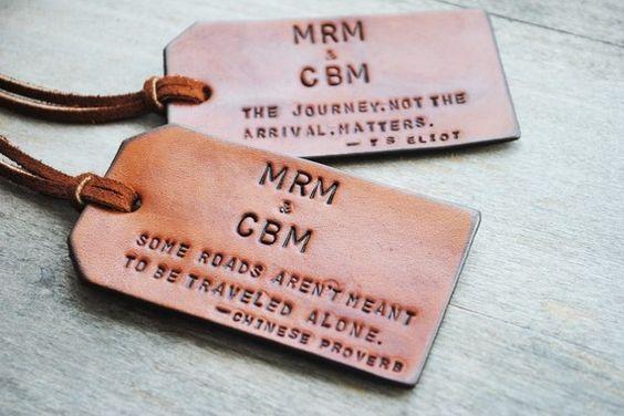 Custom made leather luggage tags on Etsy.