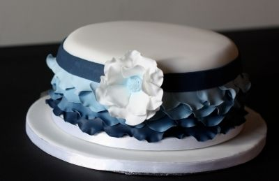 Blue Ruffles By Kt100 on CakeCentral.com