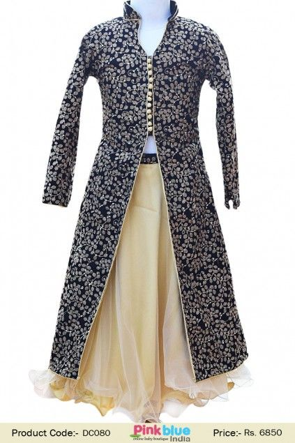 Designer ethnic dress for girls black velvet jacket with for Dress and jacket outfits for weddings