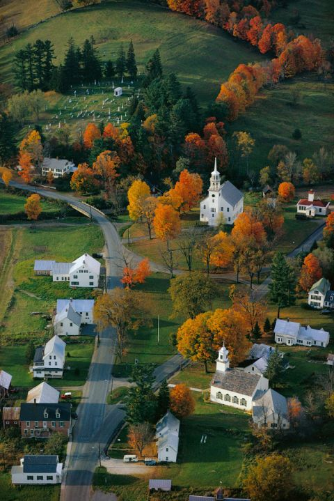 Stratford, Vermont, USA: The town of Strafford, with its little white buildings and sprawling acres, looks prettiest in the fall months. Click through for more beautiful fall pictures!