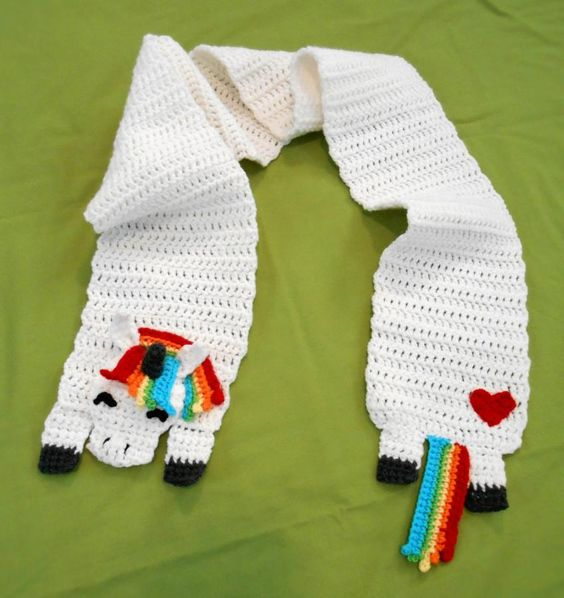 Rainbow Unicorn Scarf By Charleeann Crochet Daily