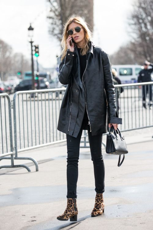 black skinny jeans, leopard boots, black leather jacket