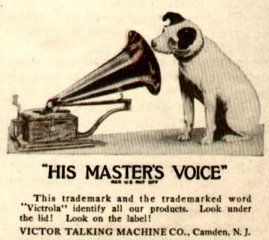 """Victrola terrier trademark . . .""""His Master's Voice"""""""