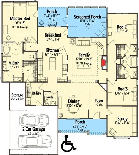 Plan 86279hh Attractive Traditional House Plan With Handicapped Accessible Features Accessible House Plans Wheelchair House Plans Accessible House