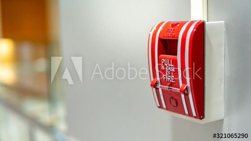 Red Fire Alarm Switch On Concrete Wall In Office Building Industrial Fire Warning System Equipment For Emergency In 2020 Concrete Wall Fire Alarm Office Building