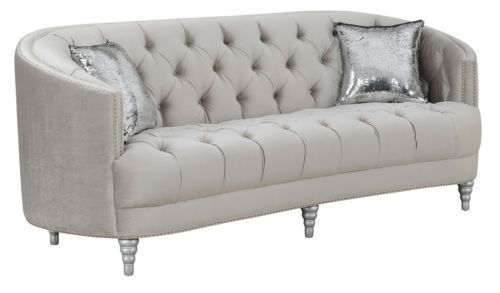Curvy Grey Gray Velvet Rhinestone Crystal Tufted Sofa Living Room