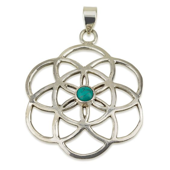 """Seed of Life Pendant with Turquoise Stone Sterling Silver 925 Size 1.5"""" Yoga #MAGAYA #Pendant"""