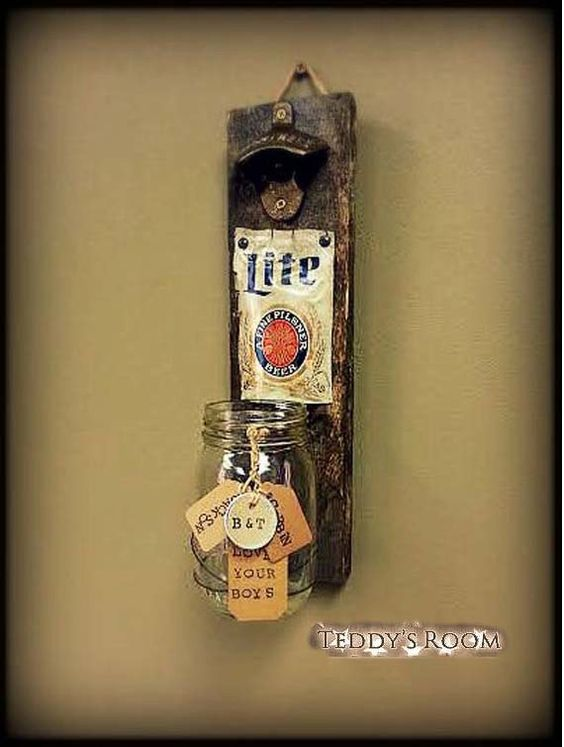 Fathers Day Gift Rustic Pallet Wood Beer Bottle Opener