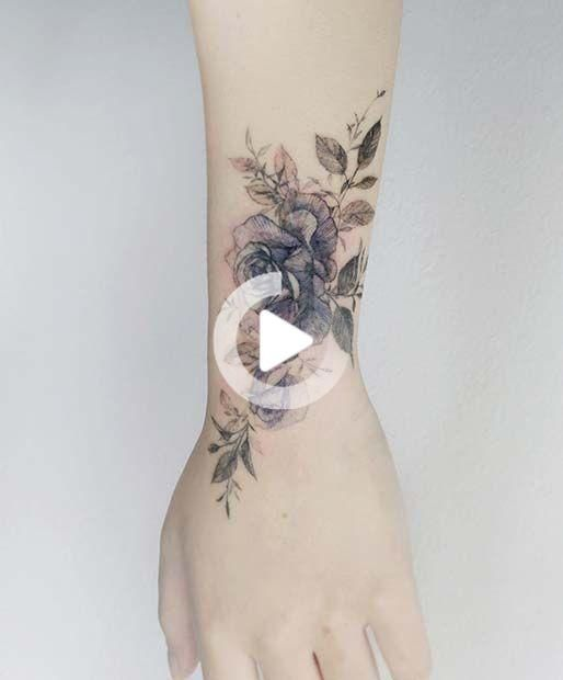 43 Beautiful Flower Tattoos For Women In 2020 Rose Tattoos On Wrist Flower Wrist Tattoos Beautiful Flower Tattoos