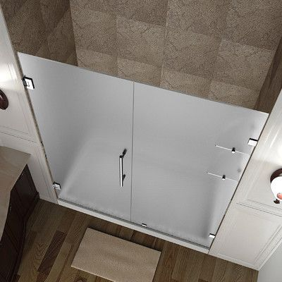"Aston Nautis GS 72"" x 48"" Completely Frameless Hinged Shower Door with Shelves, Frosted Glass Trim Finish:"