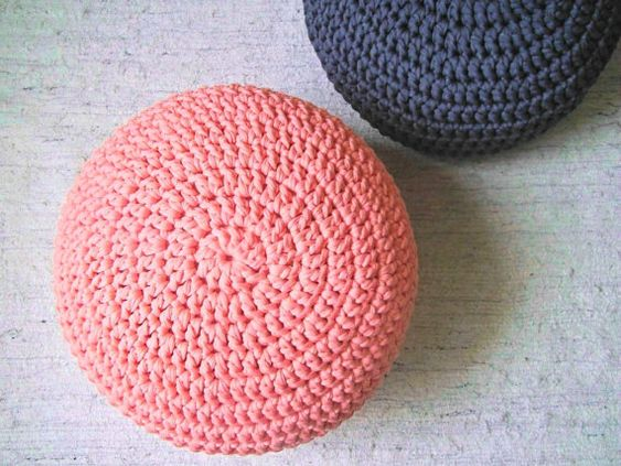 Light Coral Pink Crochet Pouf - Blush Coral Pink Ottoman Nursery Footstool - Crochet Floor ...