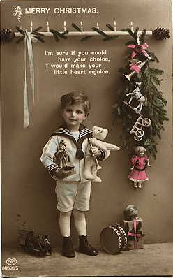 Image detail for -Children, Tinted Real Photograph postcards, Toys, Christmas Trees