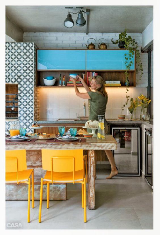decoracao de sala azul turquesa e amarelo : decoracao de sala azul turquesa e amarelo:Cozinha Amarelo/azul turquesa