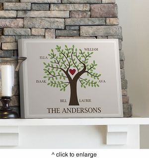 Personally Engraved Gifts  - Family Tree Canvas  Print, $53.99 (http://www.giftthings.net/family-tree-canvas-print/)