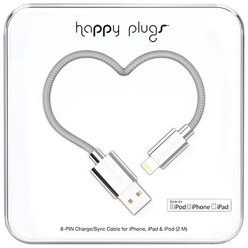 Happy Plugs 2m (6.5 ft.) Lightning/USB Cable - Silver