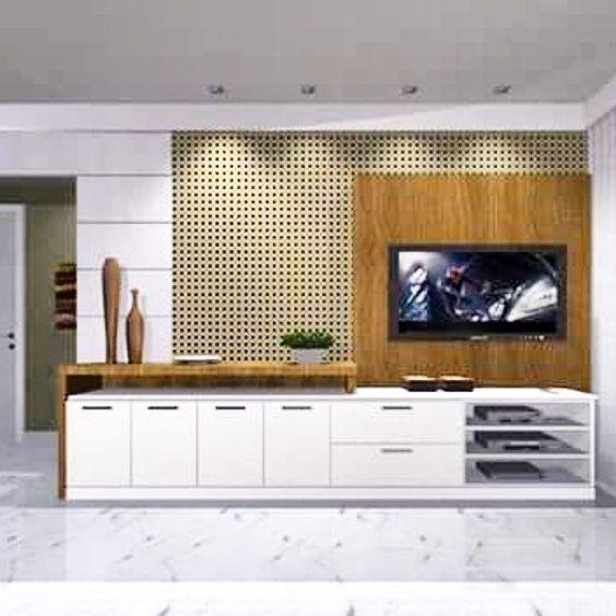 Projeto em 3D para painel de tv e móvel multi-função. Sala de Estar/jantar.