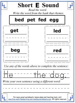 Printables Sentences With Rhyming Words For Kids short e worksheets and activities for each box write a word from the bank that rhymes use one of words to complete senten
