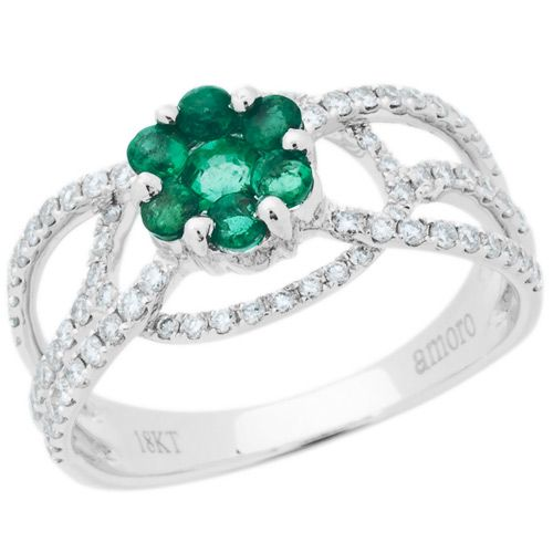 1.05 Carat 18kt White Gold Emerald and Diamond Ring