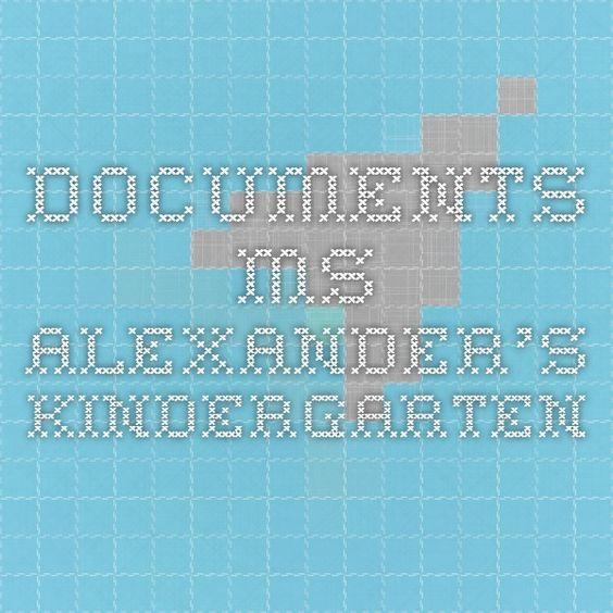 Documents - Ms. Alexander's Kindergarten