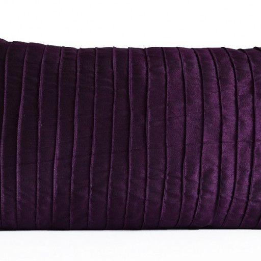 Purple Decorative Pillow Cushion Cover In Deep Dark Purple Dupioni