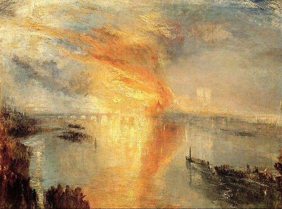J.M.W.Turner「Incendio delle Camere del Parlamento」(1834)
