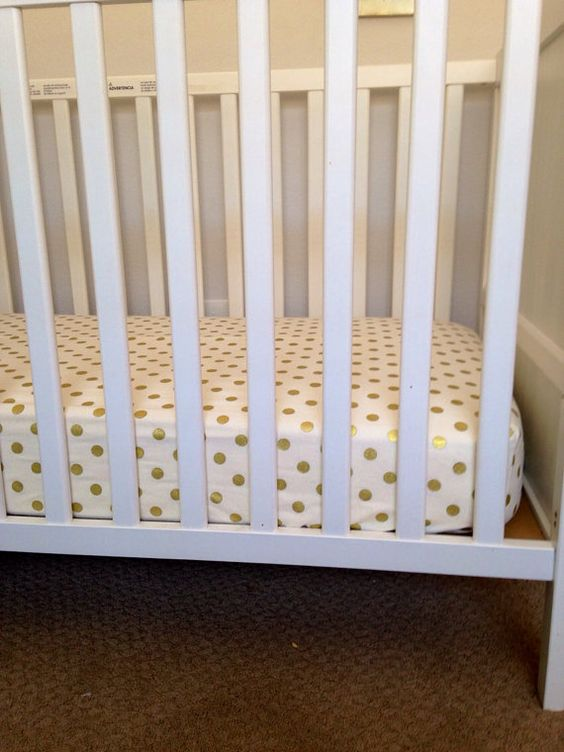 Fitted Crib Sheet- Gold Polka Dots on Etsy, $55.00