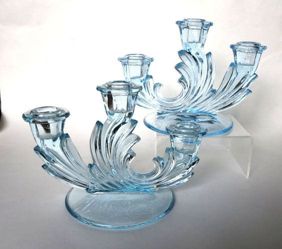 Fostoria glass azure blue baroque depression glass for Clear baroque glass