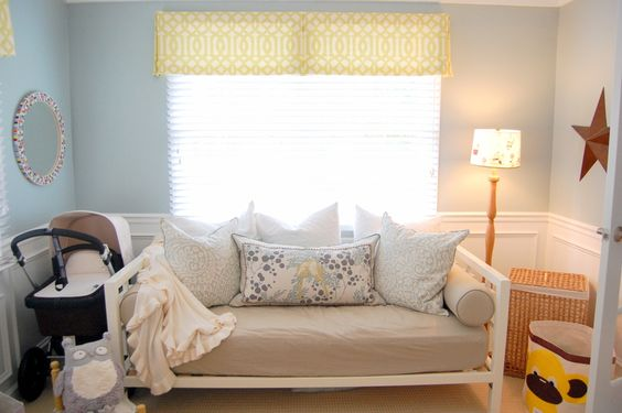 Love the idea of a daybed in a nursery - takes up only a little room and a place for mom to crash!