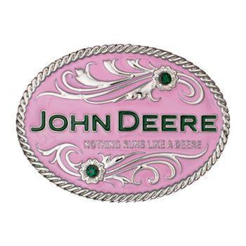 Montana Silversmiths Women's Pink John Deere Belt Buckle