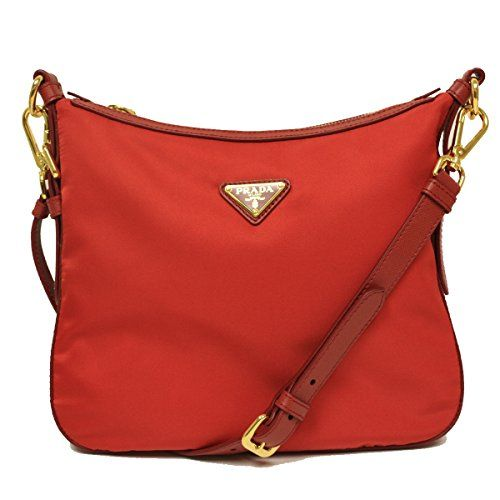 prada new season handbags - Prada BT0706 Rosso Red Tessuto Saffian Nylon and Leather Crossbody ...