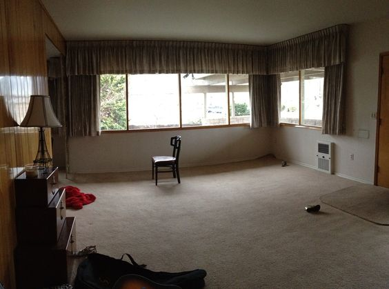 Windows. window treatments? not sure what to do with other half of room. Maybe formal dining?