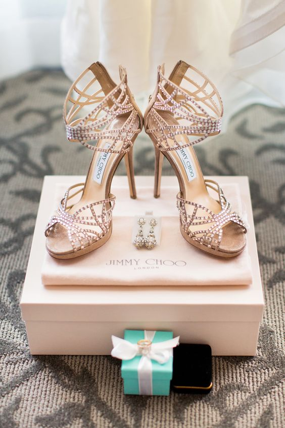 Strappy Jimmy Choo Shoes - See the wedding here: http://www.stylemepretty.com/little-black-book-blog/2014/05/20/whimsical-ojai-valley-wedding/ #SMP - Photography: Jonathan Young - jyweddings.com: