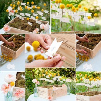 escort cards in flowers - Google Search