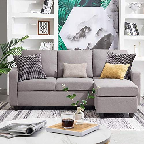 New Honbay Convertible Sectional Sofa Couch Modern Linen Fabric L Shape Couch Small Space Grey Gainsboro Online Shopping Newtrendylook In 2020 Sofas For Small Spaces Small Apartment Couch Couches For Small Spaces