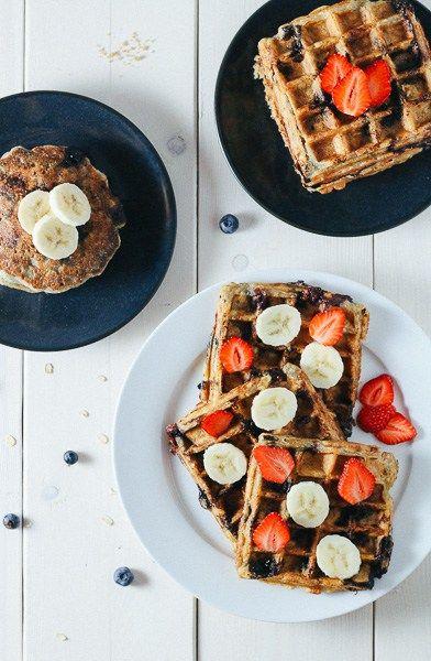 Paleo-ish Blueberry Oatmeal Waffles: